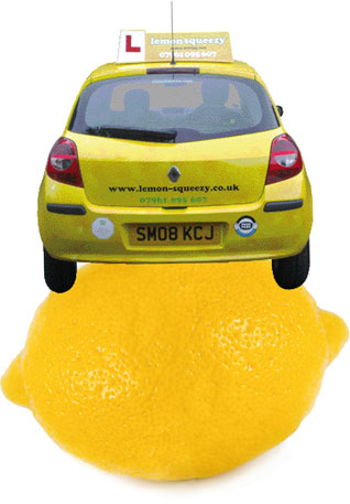 Rear view of a lemon squeezy car